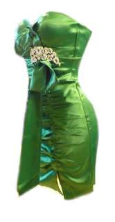 ELEGANT GREEN DIAMANTE BOW SATIN EVENING PARTY COCKTAIL DRESS 8  14