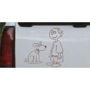 Child With Dog Stick Family Car Window Wall Laptop Decal