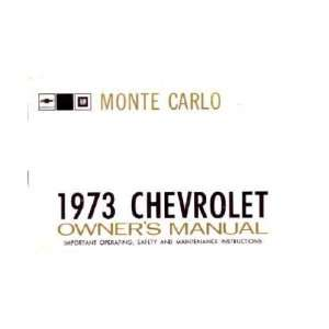 1973 CHEVROLET MONTE CARLO Owners Manual User Guide