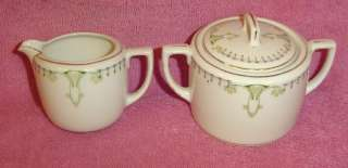 Austria Porcelain Art Deco Sugar Bowl and Creamer