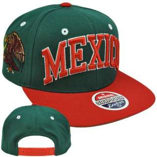 Snapback Mexico Mexican Flag Green Red License Flat Bill Hat Cap