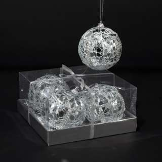 KURT ADLER MIRRORED GLASS BALL ORNAMENTS, SET OF 4