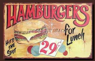 Tin Metal Sign   Hamburgers For Lunch Fifties 1950s Diner Cafe #28486A