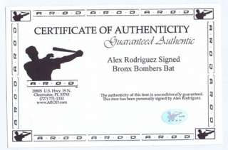 Alex Rodriguez Signed Bronx Bomber Model Bat MLB Holo