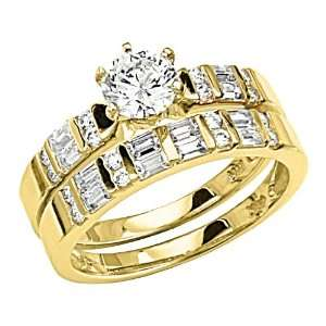 14K Yellow Gold Solitaire Round CZ Cubic Zirconia High Polish Finish