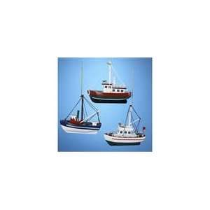 of 12 Red, Green and Blue Wooden Fishing Boat Christma