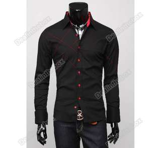 Mens Casual Slim fit Stylish Long Sleeve Shirts Luxury Three size Two