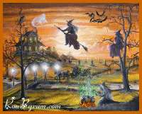 Halloween Art Witches Haunted House Cauldron Flying Cat Moon Byrum