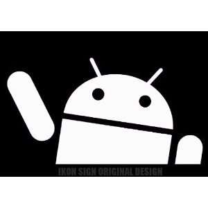 ANDRIOD DROID WAVING PEEKING   6 WHITE   Vinyl Decal WINDOW Sticker