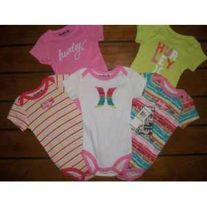 Baby Girls Colorful Hurley Onesie Bodysuit Shirts ~ 5 Pair