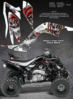 YAMAHA RAPTOR 700 700R GRAPHICS THE EVIL JESTER WHITE