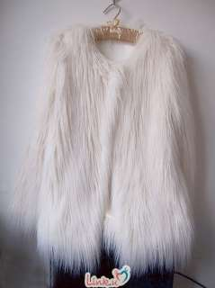 Trendy Ivory Off White Faux Fur Long Hair Winter Coat Jacket AU Size