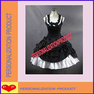 lolita cosplay cotton black Ball Gown Prom Dress and white Skirt 2p