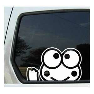 Keroppi Frog Waving   6 WHITE Vinyl Decal Window Sticker Automotive