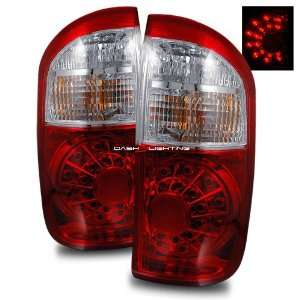 04 06 Toyota Tundra Double Cab LED Tail Lights   Red Clear
