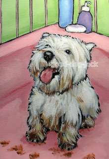 PAWS West Highland White Terrier WESTIE MATTED PRINT Painting RANDALL