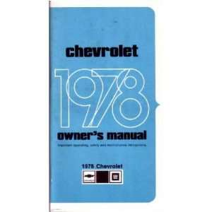 1978 CHEVROLET IMPALA FULL SIZE Owners Manual Guide Automotive