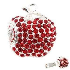 8GB Apple Shape USB Flash Drive with Shiny Rhinestone (Red