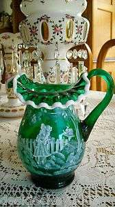 FENTON ART GLASS EMERALD GREEN MARY GREGORY PITCHER 2002