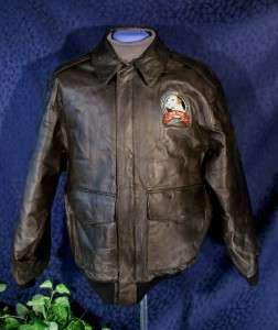 WEARGUARD Top Dog Brown Leather Flight Bomber Jacket S