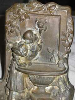 ANTIQUE ART NOUVEAU CAST IRON FOUNTAIN BIRD BATH BOOKENDS LADY GARDEN
