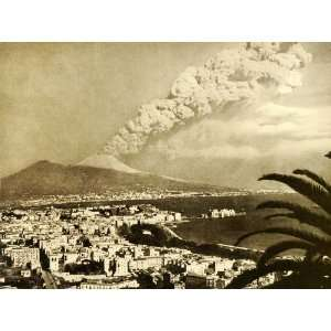 1945 Print Mount Vesuvius Eruption Billow Smoke Naples