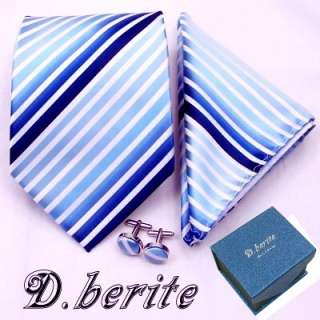 MEN NECK TIE NECKTIES HANKY CUFFLINK GIFT BOX SET TZ06
