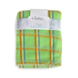 Fleece Blanket Green with Orange and Blue Stripes Baby