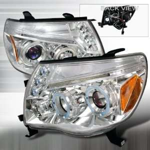 05 07 Toyota Tacoma Halo LED Projectors Headlights   Chrome Blue Lens