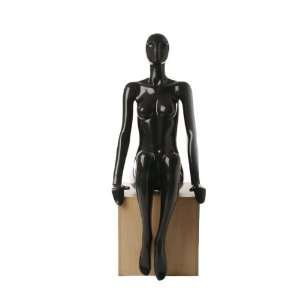 Sitting Female Mannequin   Shiny Black Arts, Crafts