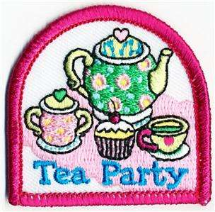 Girl TEA PARTY PINK Fun Patches Crests SCOUTS/GUIDES