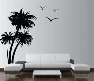 Large Tree Wall Decal Palm Coconut Forest Birds Kids Vinyl Sticker