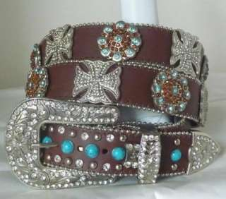 WESTERN BROWN TURQUOISE BLUE TOPAZ CROSS CONCHO COWGIRL BLING LEATHER