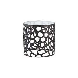 Ennis Black Oxidized Iron/Glass Side Table by Arteriors