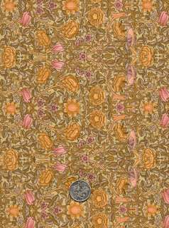 Rare ROSE & HUBBLE Art Nouveau WILLIAM MORRIS Fabric ROSE CHINTZ Gold