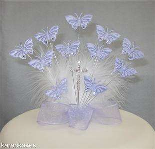 CHRISTENING/HOLY COMMUNION BUTTERFLY CAKE TOPPER LILAC ~~READY TO GO