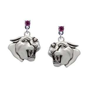 Panther   Mascot Hot Pink Swarovski Post Charm Earrings [Jewelry