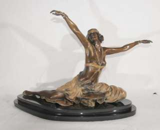 French Bronze Art Deco Thebian Dancer Signed Colinet