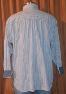 Sean John LONG SLEEVE BLUE WHITE GRAY STRIPE CASUAL COTTON SHIRT MENS