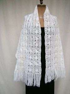 NWOT Hand Crochet Large Long Winter White Shawl, Wrap, Scarf 23 x 70
