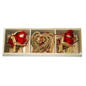 Straw Ornament & Yarn Santa Collection   10 Pk.