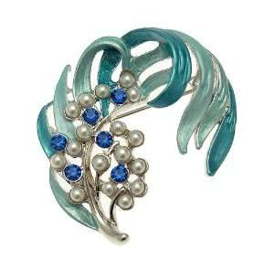 Acosta   Blue Enamel & Faux Pearl   Feather Leaf Brooch