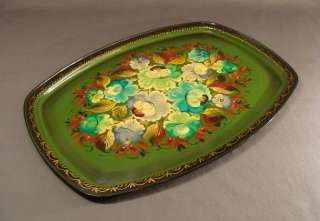 1950s VINTAGE RUSSIAN ART FLOWERS PAINT TIN TRAY PLATE