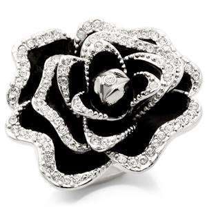 Black Rose Ring With High Quality Austrian Crystal Size (8