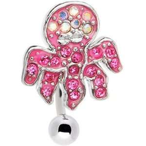 Top Down Hot Pink Gemmed Octopus Belly Ring Jewelry