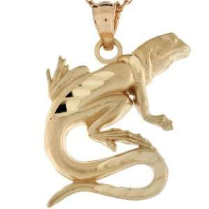 14k Real Gold Lizard Salamander Reptile Diamond Cut Charm