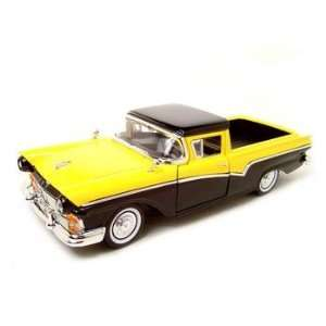 1957 FORD RANCHERO YELLOW/BLACK 118 DIECAST MODEL