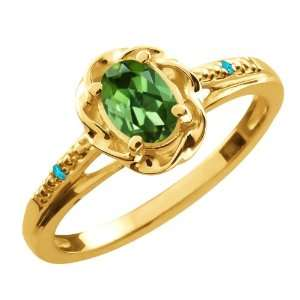 Oval Green Tourmaline Swiss Blue Topaz 14K Yellow Gold Ring Jewelry