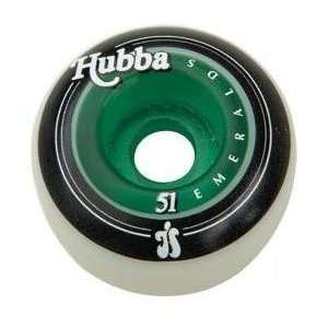 Hubba Rolling Stones Green Clear Core Skateboard Wheels   51mm (set of