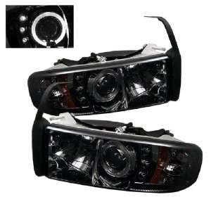 Ram 1500/2500 00 01 Halo LED Projector Headlights Smoke w/ FREE BULBS
